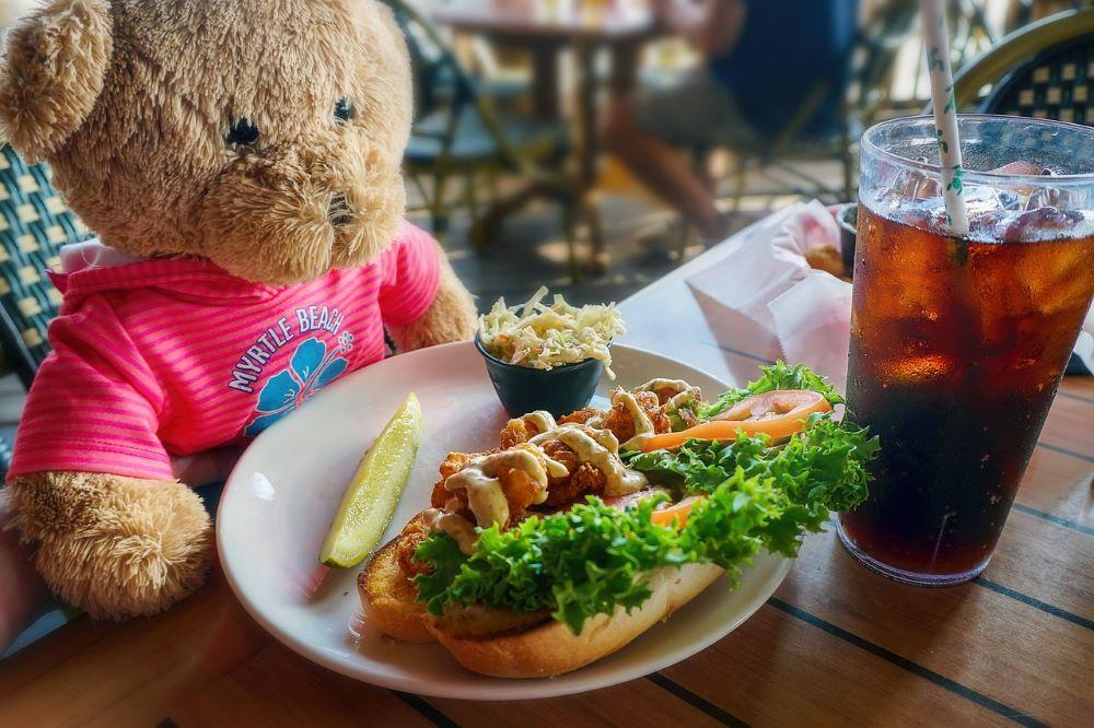 teddy bear at a table