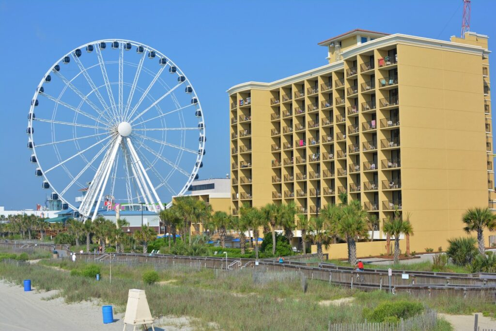 The ferris wheel and Holiday Pavilion from the beach